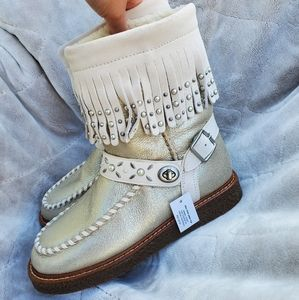 COACH Roccasin Suede Sherling Boots NWT 6